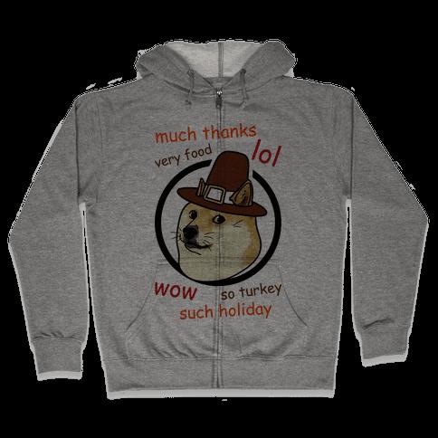 Doge Thanksgiving Zip Hoodie