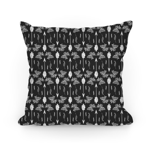 Gray Floral Arrow Pattern Pillow