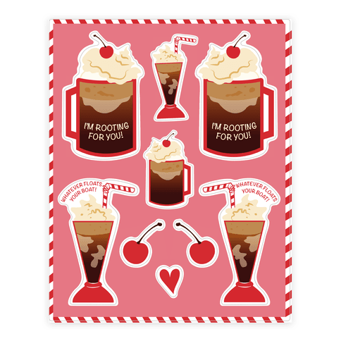50s Diner Root Beer Floats Sticker Decal Sheets Human