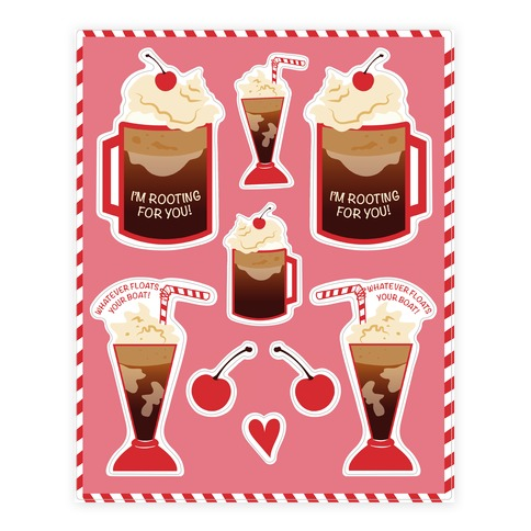 50s Diner Root Beer Floats  Sticker/Decal Sheet