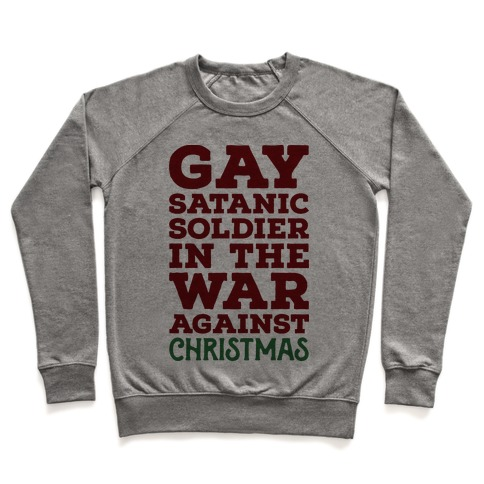 Satanic Christmas Sweater.Gay Satanic Soldier Crewneck Sweatshirt Lookhuman