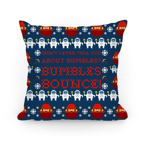 Yukon Cornelius and Bumble Ugly Sweater Pillow