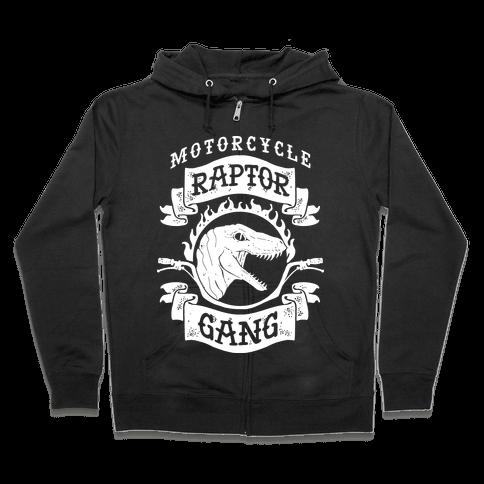 Motorcycle Raptor Gang Zip Hoodie