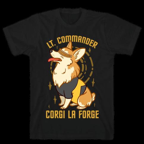 Lieutenant Commander Corgi La Forge Parody Mens T-Shirt
