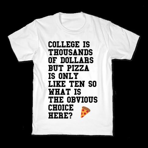 College Vs Pizza Kids T-Shirt