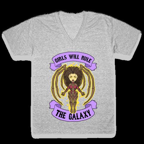 Girls Will Rule The Galaxy (Kerrigan) V-Neck Tee Shirt