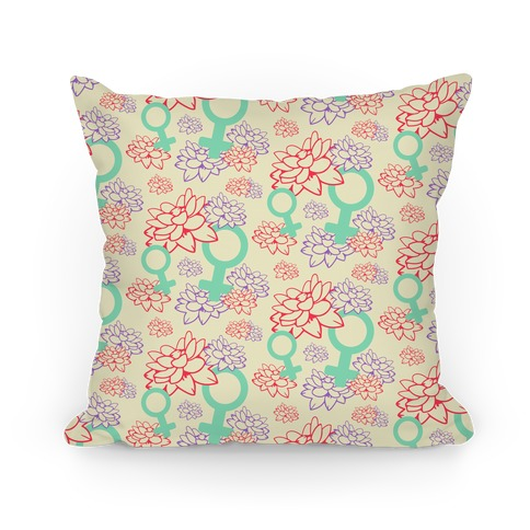 Female Symbol and Lotus Flowers Cream Pattern Pillow