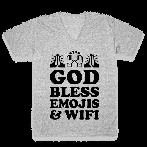 God Bless Emojis & Wifi V-Neck Tee Shirt