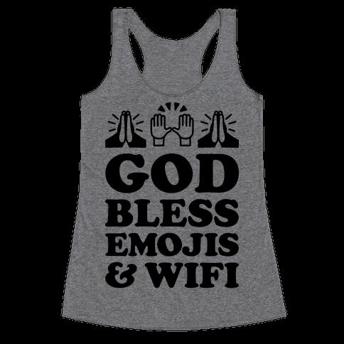 God Bless Emojis & Wifi Racerback Tank Top
