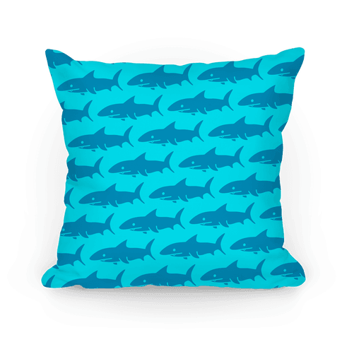 Shark Pattern Pillow (Light Blue) Pillow