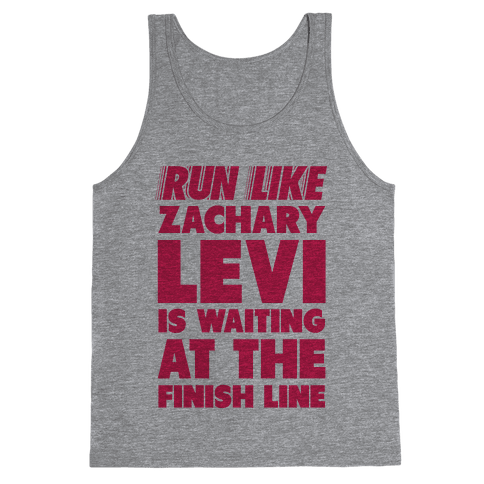 Run Like Zachary Levi is Waiting at the Finish Line (pink) Tank Top