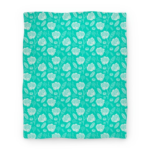Floral and Leaves Pattern (Teal) Blanket