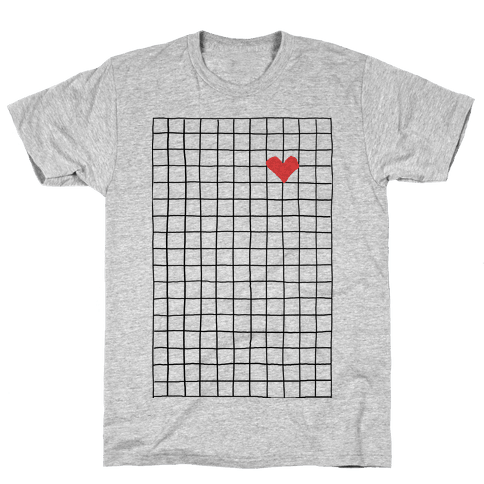 Graph My Heart Grid Pattern Mens T-Shirt