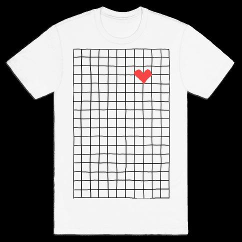 Graph My Heart Grid Pattern Mens T-Shirt