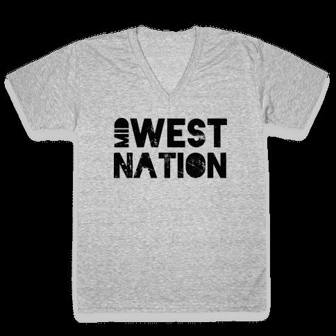Mid West Nation V-Neck Tee Shirt