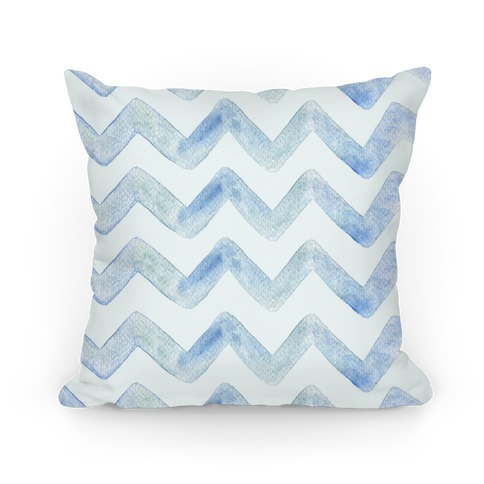 Blue Watercolor Chevron Pattern Pillow