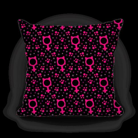 Female Cat Symbol Pattern Pillow