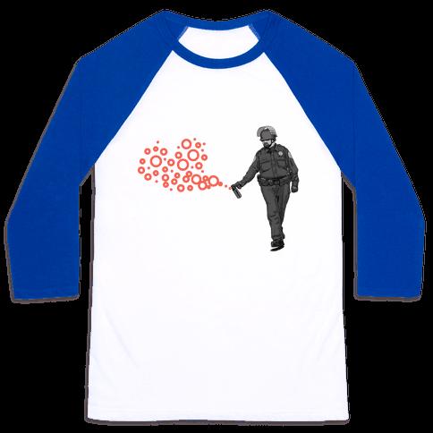 Pepper Spray Cop T-Shirt heart Baseball Tee