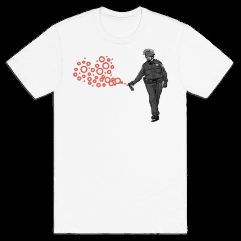 Pepper Spray Cop T-Shirt heart Mens T-Shirt