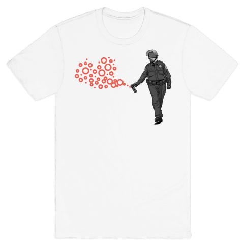 Pepper Spray Cop T-Shirt heart Mens T-Shirt