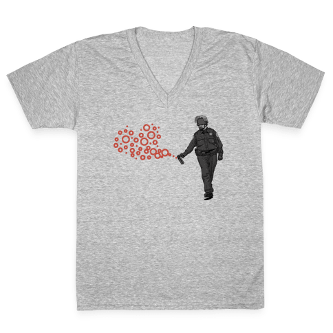 Pepper Spray Cop T-Shirt heart V-Neck Tee Shirt