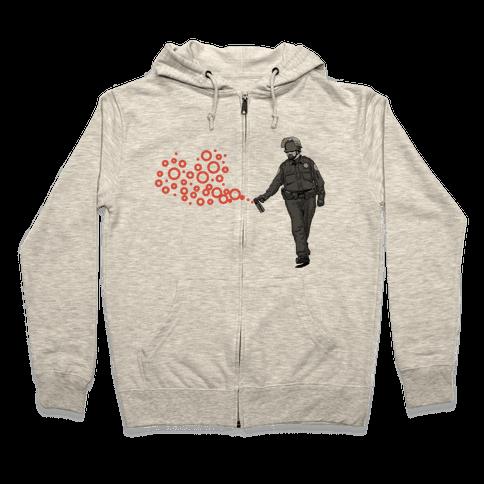 Pepper Spray Cop T-Shirt heart Zip Hoodie