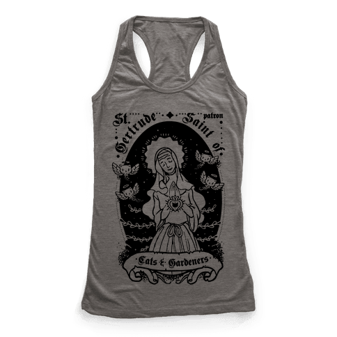 Saint Gertrude of Cats Racerback Tank Top