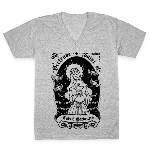 Saint Gertrude of Cats V-Neck Tee Shirt