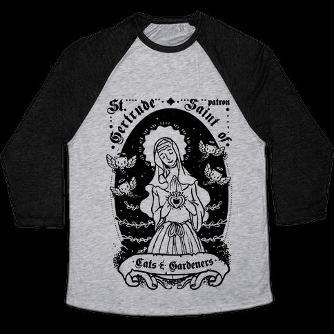 Saint Gertrude of Cats Baseball Tee