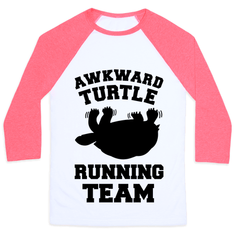 Awkward Turtle Running Team Baseball Tee