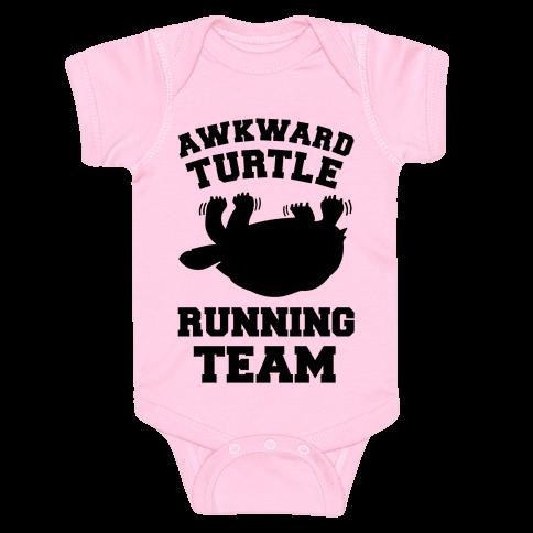 Awkward Turtle Running Team Baby Onesy