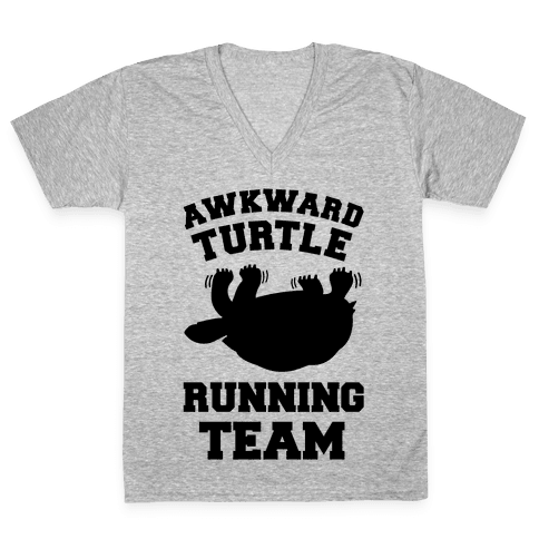 Awkward Turtle Running Team V-Neck Tee Shirt