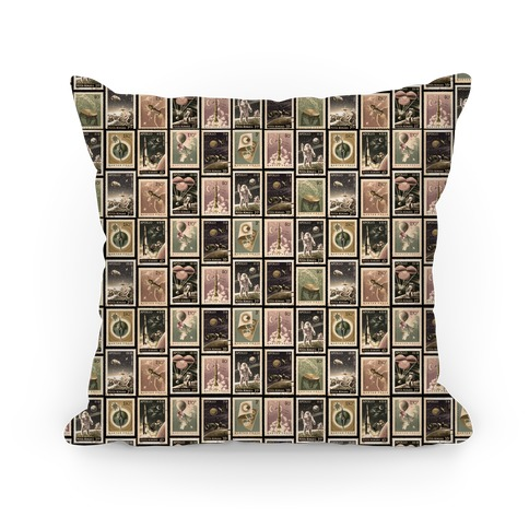 Vintage Space Stamp Pattern Pillow