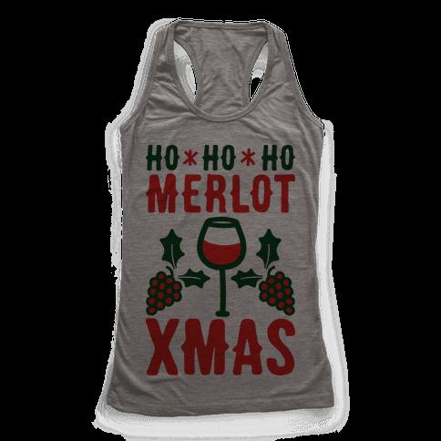 Ho Ho Ho Merlot Christmas Racerback Tank Top