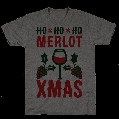 Ho Ho Ho Merlot Christmas Mens T-Shirt