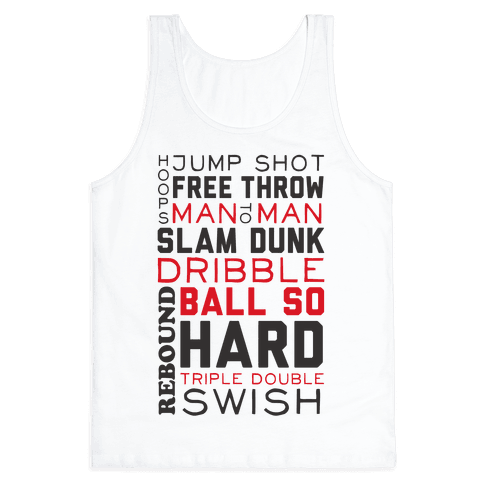 Basketball Typographic (Red and Black) Tank Top