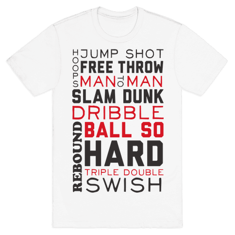 Basketball Typographic (Red and Black) Mens T-Shirt