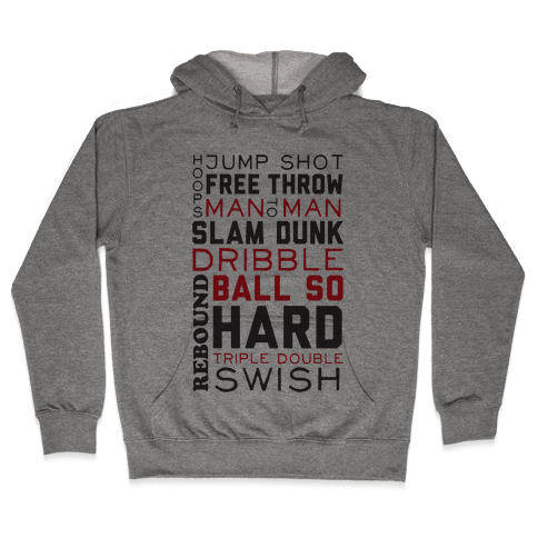 Basketball Typographic (Red and Black) Hooded Sweatshirt