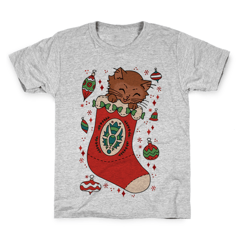Vintage Cat In A Stocking Kids T-Shirt