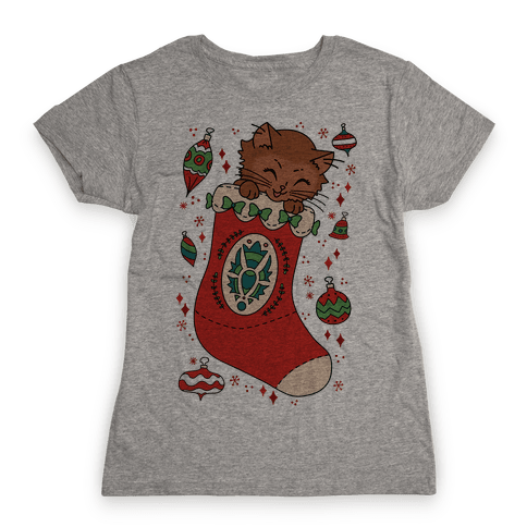Vintage Cat In A Stocking Womens T-Shirt