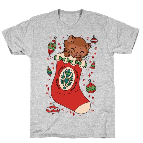 Vintage Cat In A Stocking T-Shirt