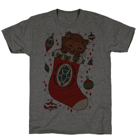 Vintage Cat In A Stocking Mens T-Shirt