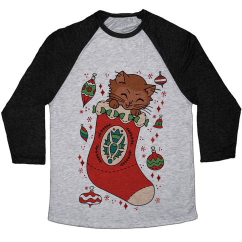 Vintage Cat In A Stocking Baseball Tee