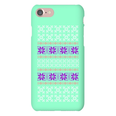 Sweater Pattern Print Mint Phone Case