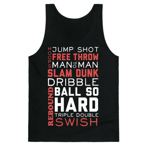 Basketball Typographic (Red and White) Tank Top