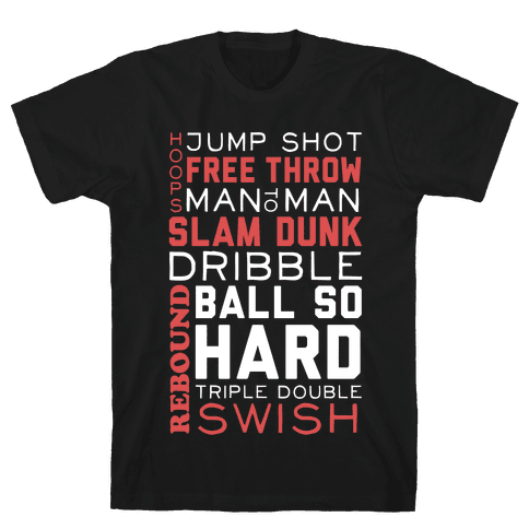 Basketball Typographic (Red and White) Mens T-Shirt