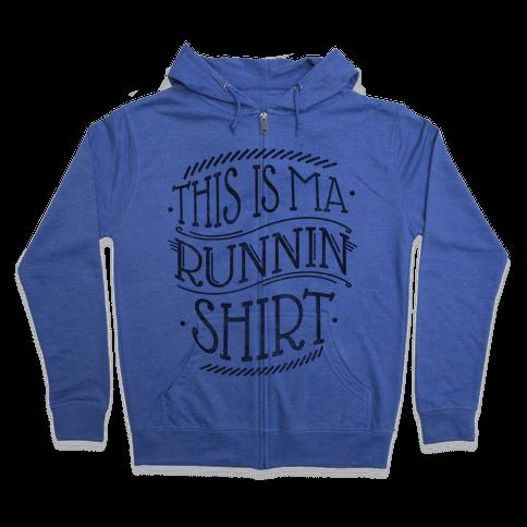 Running Shirt (Grey) Zip Hoodie