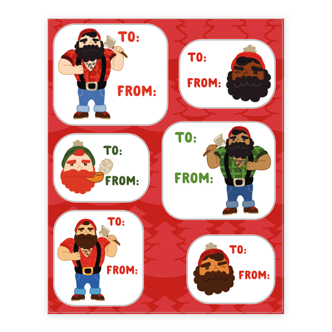 Holiday Lumberjack Gift Tags Sticker and Decal Sheet