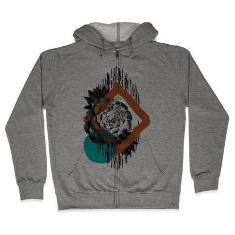 Succulent Abstract Collage Zip Hoodie