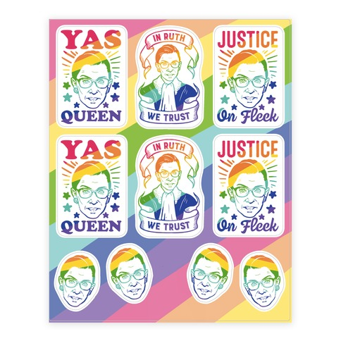 Ruth Bader Ginsburg Pride Sticker and Decal Sheet